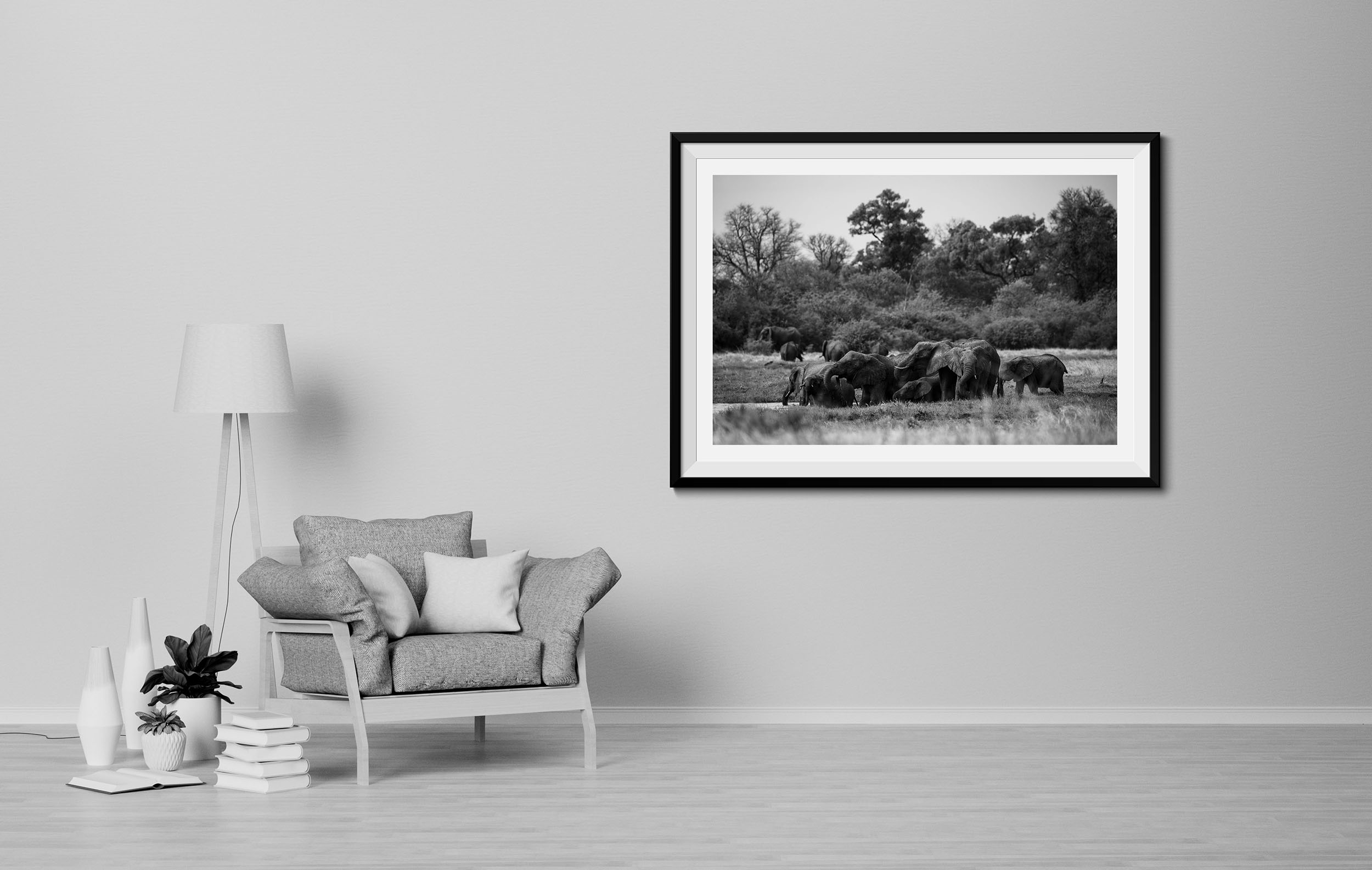 Elephants at Waterhole - Fine Art Photography Print